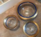 "10"" gold & blue bowl w/ 2 matching pedestal bowls"